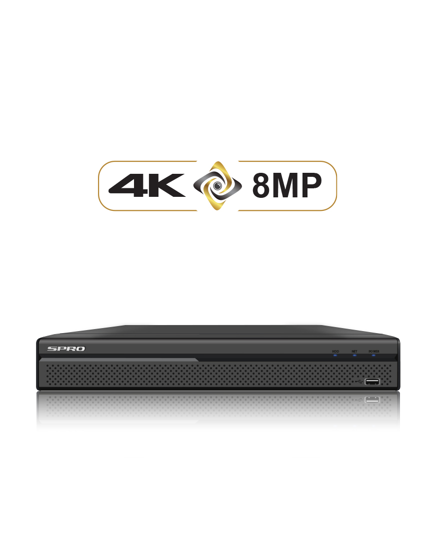 24CH 4K 8MP DVR, 16 X BNC + 8 X IP, POC