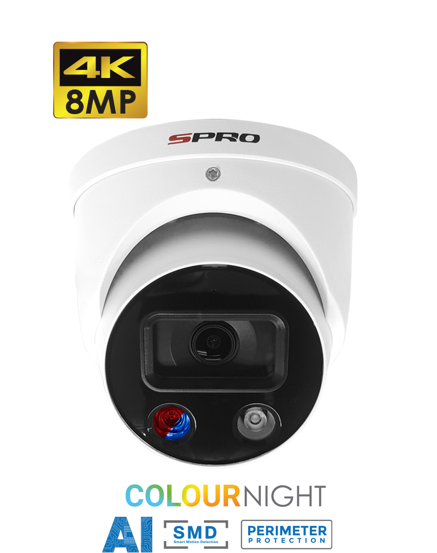 SPRO 8MP IP Fixed Lens Turret with Active Deterrence