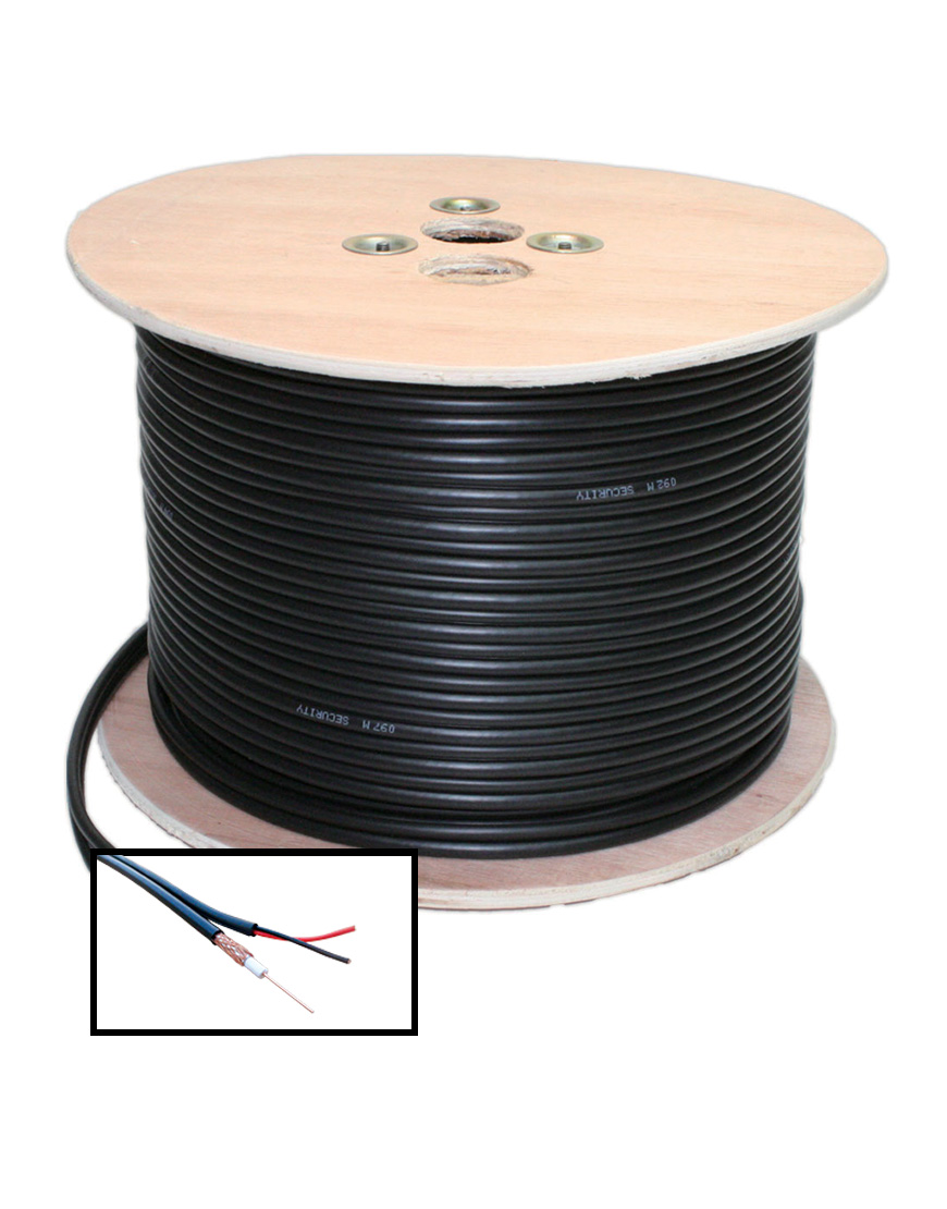 RG59, 250m Coaxial Cable with 2 Core Power